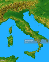 Map Of Italy by Relief Map Of Italy And The Surrounding Seas Stock Illustration