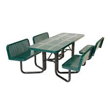 Bench Table Suncast Commercial Split Bench Perforated Green Picnic Table