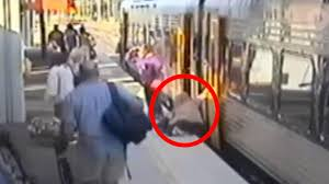 crushed by escalator elderly woman falls between platform and train and disappears