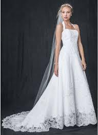wedding dress david bridal satin halter a line wedding dress with beaded lace david s bridal