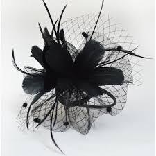 ivory black feather veil sinamay linen womens ladies female
