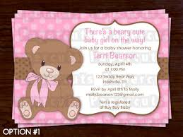 teddy baby shower invitations teddy theme baby shower party invitation pink brown