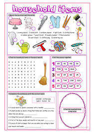 12 free esl household items worksheets