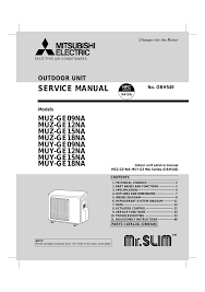 mitsubishi electric muy ge09na user manual 48 pages also for