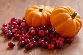 Small Pumpkins Autumn Harvest Decoration Ith Small Pumpkins And Cranberries Stock