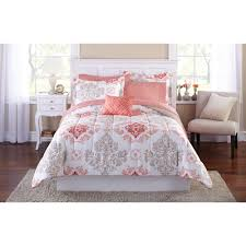 Comforters Bedding Sets Mainstays Coral Damask Bed In A Bag Bedding Set Walmart