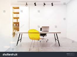 Armchair With Desk Workplace Yellow Guest Chair Desk Computer Stock Illustration