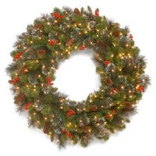 three posts spruce pre lit wreath with 50 battery operated white