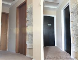 Painting Stained Wood Trim Painting Dark Trim White Before And After