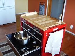 Movable Island For Kitchen by Tool Box Repurposed For Kitchen Center Island Wooden Table Top Is