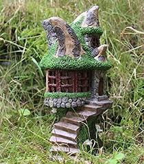 solar powered decorative garden ornament tree house colour