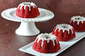 mini red velvet bundt cakes cream cheese glaze overtime cook