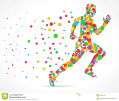 running man with color circles sports man running stock vector