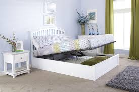 Ottoman Storage Bed Frame by Gfw Madrid White Wooden Ottoman Storage Bed Frame 4ft6 Double