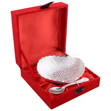 gift to india buy german silver bowl and spoon gift set online at low prices in