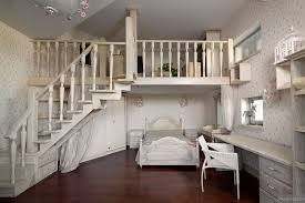 Dreamy Floral And White Bedroom With Mezzanine And Homework Space - Bedroom mezzanine