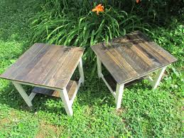 Rustic Cabin Furniture Set Of 2 Rustic End Tables French Country Farmhouse Cottage