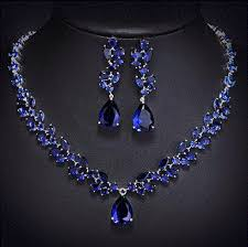 blue stone necklace earrings images Blue sapphire new natural blue stone cz jewelry necklace earrings gif