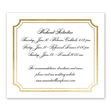 tradition reigns foil information card invitations by