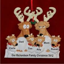 reindeer family of 6 family ornaments personalized by