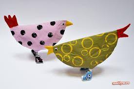 mollymoocrafts leggy birds papier mache hens