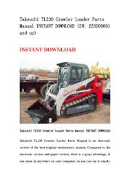 takeuchi tl230 crawler loader parts manual instant download sn 22300 u2026