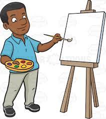 paint man a black man painting on a blank canvas cartoon clipart vector toons