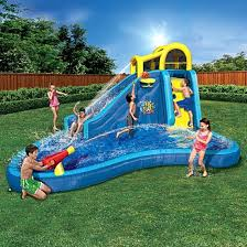 Best Backyard Water Slides Inflatable Water Slide Outdoor Pool Intex Spray Ring Toss Kids