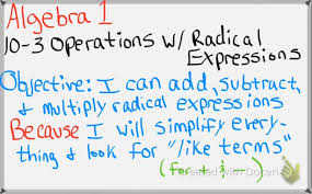 algebra 1 10 3 operations with radical expressions youtube