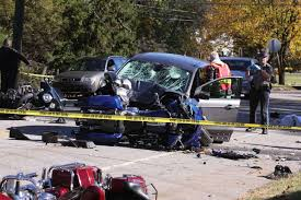 car swerves into motorcycles one dead several injured newstimes