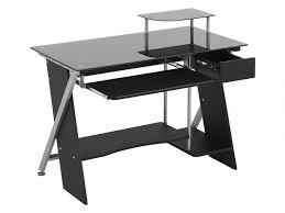 bureau noir verre bureau informatique pascal 1 tiroir verre trempé noir