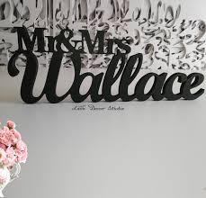 mr and mrs sign for wedding custom black letter mr and mrs last name wedding wedding sign mr