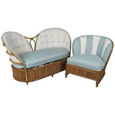 home decorators chairs vintage 1940s rattan settee and lounge chair at 1stdibs