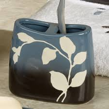 Ceramic Bathroom Accessories by Passell Blue And Brown Ceramic Bath Accessories