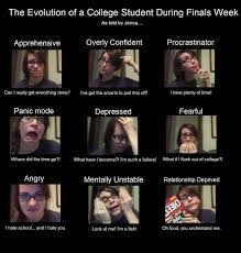College Finals Meme - the evolution of a college student during finals week this is my