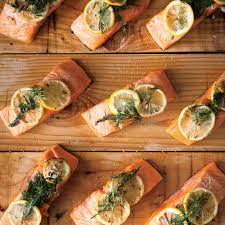 a chefs dinner party recipes food wine cedar planked salmon with