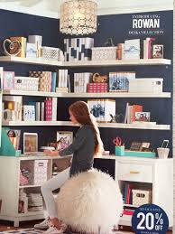 floating shelves above desk would love this in a craft room