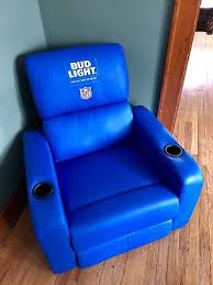 light blue recliner chair bud light blue nfl recliner chair w cup holders ebay
