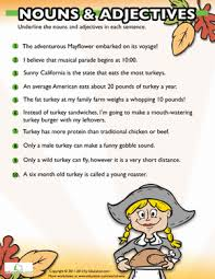 thanksgiving nouns and adjectives 5 grammar worksheets