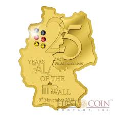 Gabon Map Gabon 25 Years Fall Of The Wall Berlin 5000 Francs Gold Coin