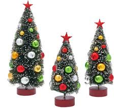 set of 3 graduated bottle brush trees with decorations page 1 in