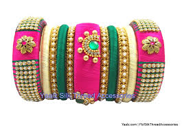 gold bangle bracelet sets images Yaalz heavy bridal partywear bangles set in green pink colors jpg