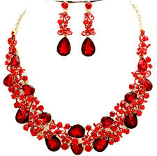 red necklace jewelry images Elegant red jewelry crystal necklace jpg