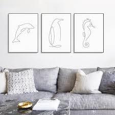 dolphin home decor 2018 modern picasso minimalist sea animal shape canvas a4 art