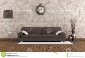 Modern Brown Sofa Modern Sofa In A Retro Room Stock Illustration Illustration Of