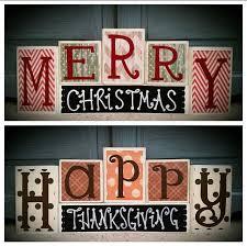 custom made to order reversible block set happy thanksgiving on