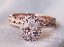 morganite wedding set oval morganite diamond halo engagement ring gold deco