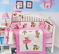 girls crib bedding sets baby bedding sets pink monkey crib collection nursery pictures
