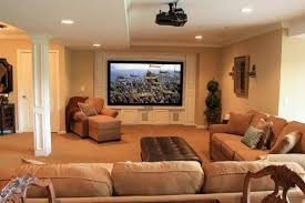 cozy basement family room design ideas with flat screen tv and