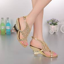 wedding shoes gold color 2016 summer new fashion wedding shoes gold color wedges heels